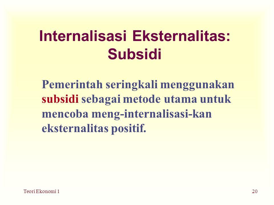 Teori Ekonomi 120 Internalisasi Eksternalitas: Subsidi Pemerintah seringkali menggunakan subsidi sebagai metode utama untuk mencoba meng-internalisasi-kan eksternalitas positif.
