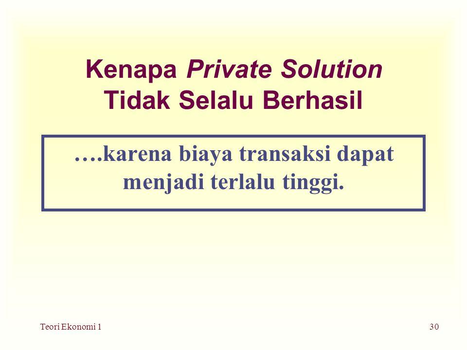 Teori Ekonomi 130 Kenapa Private Solution Tidak Selalu Berhasil ….karena biaya transaksi dapat menjadi terlalu tinggi.
