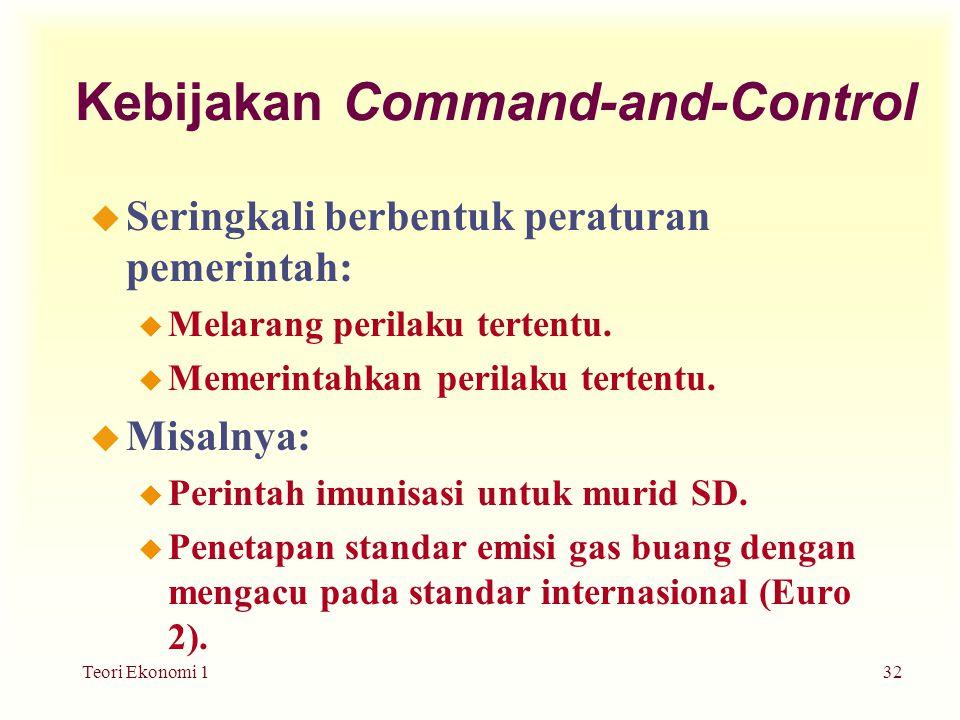 Teori Ekonomi 132 Kebijakan Command-and-Control u Seringkali berbentuk peraturan pemerintah: u Melarang perilaku tertentu.