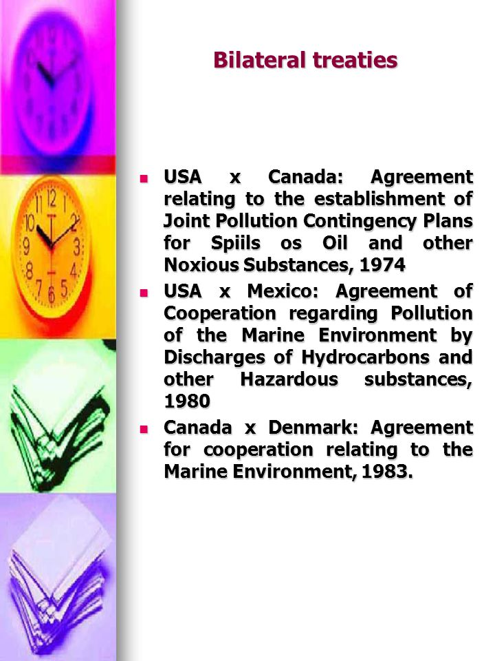 Bilateral treaties USA x Canada: Agreement relating to the establishment of Joint Pollution Contingency Plans for Spiils os Oil and other Noxious Subs