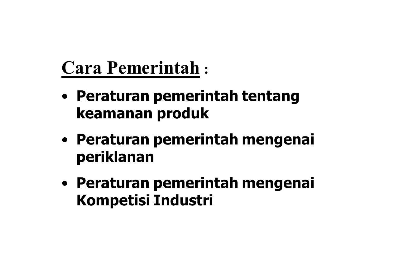 Cara Pemerintah : Peraturan pemerintah tentang keamanan produk Peraturan pemerintah mengenai periklanan Peraturan pemerintah mengenai Kompetisi Industri