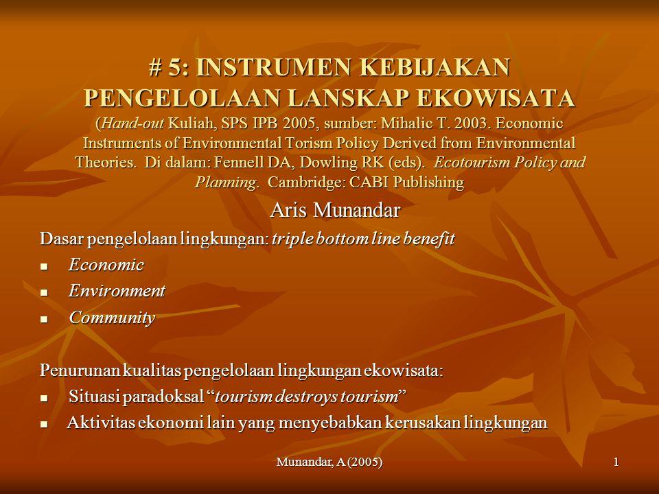 Munandar, A (2005)1 # 5: INSTRUMEN KEBIJAKAN PENGELOLAAN LANSKAP EKOWISATA (Hand-out Kuliah, SPS IPB 2005, sumber: Mihalic T.