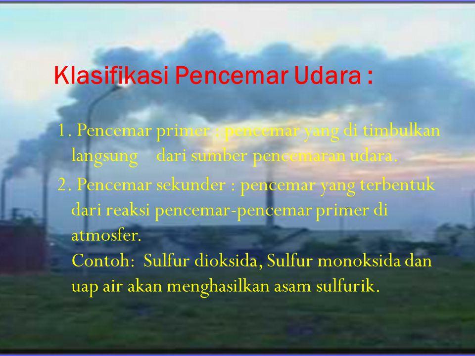Klasifikasi Pencemar Udara : 1. Pencemar primer : pencemar yang di timbulkan langsung dari sumber pencemaran udara. 2. Pencemar sekunder : pencemar ya