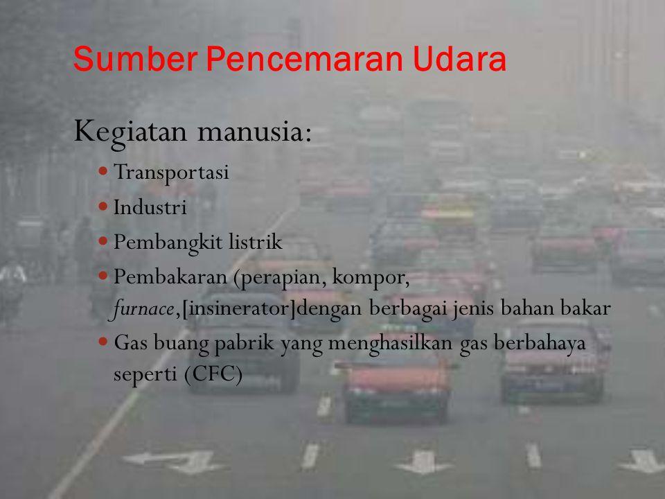 Sumber Pencemaran Udara Kegiatan manusia: Transportasi Industri Pembangkit listrik Pembakaran (perapian, kompor, furnace,[insinerator]dengan berbagai