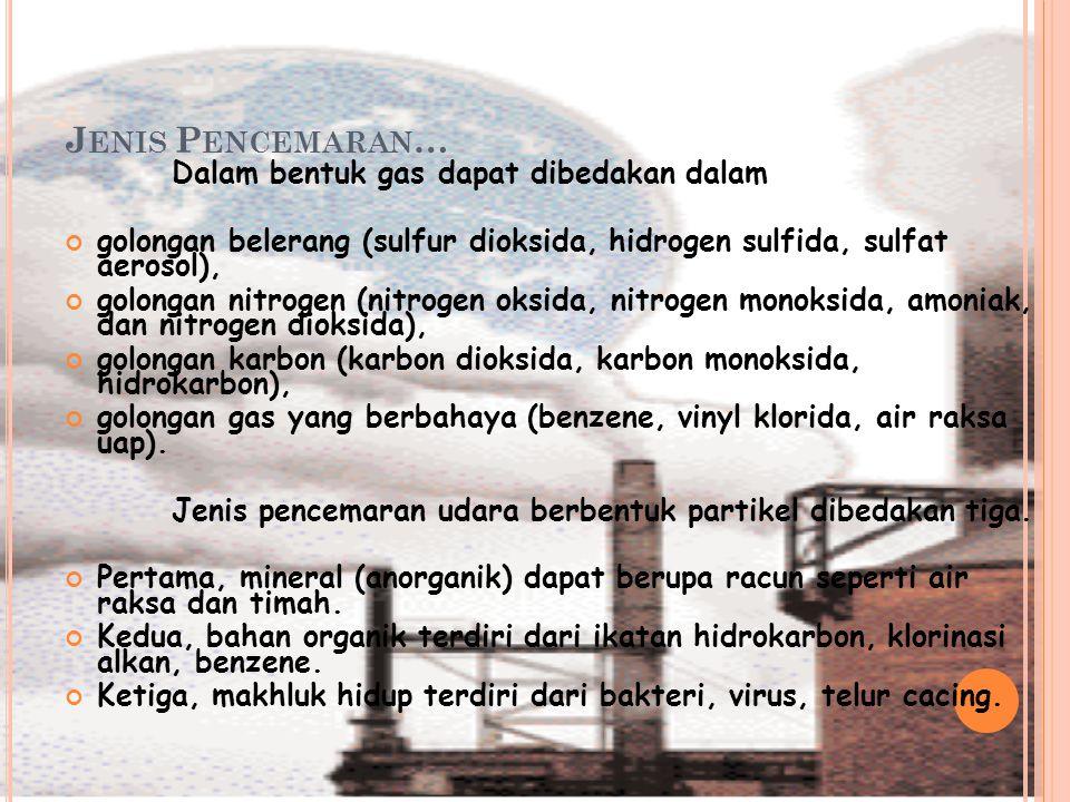 J ENIS P ENCEMARAN … Dalam bentuk gas dapat dibedakan dalam golongan belerang (sulfur dioksida, hidrogen sulfida, sulfat aerosol), golongan nitrogen (nitrogen oksida, nitrogen monoksida, amoniak, dan nitrogen dioksida), golongan karbon (karbon dioksida, karbon monoksida, hidrokarbon), golongan gas yang berbahaya (benzene, vinyl klorida, air raksa uap).