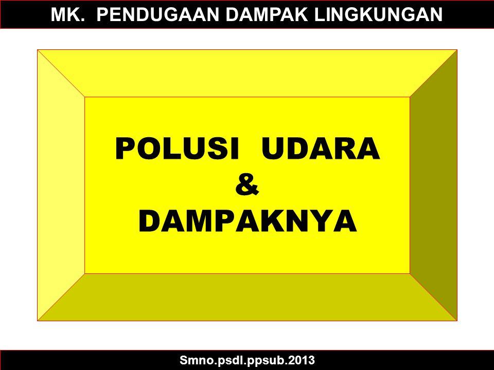 POLUSI UDARA & DAMPAKNYA MK. PENDUGAAN DAMPAK LINGKUNGAN Smno.psdl.ppsub.2013