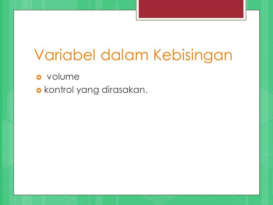 Variabel dalam Kebisingan  volume  kontrol yang dirasakan.