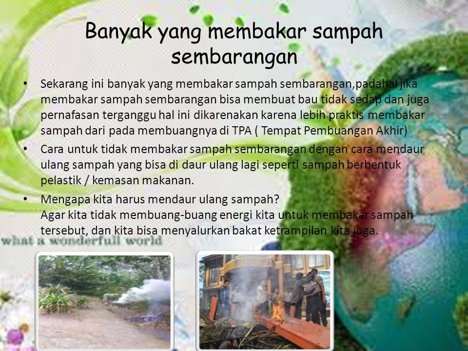 Banyak yang membakar sampah sembarangan Sekarang ini banyak yang membakar sampah sembarangan,padahal jika membakar sampah sembarangan bisa membuat bau tidak sedap dan juga pernafasan terganggu hal ini dikarenakan karena lebih praktis membakar sampah dari pada membuangnya di TPA ( Tempat Pembuangan Akhir) Cara untuk tidak membakar sampah sembarangan dengan cara mendaur ulang sampah yang bisa di daur ulang lagi seperti sampah berbentuk pelastik / kemasan makanan.