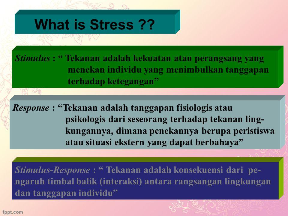 2 Stres adalah suatu kondisi dinamik yang didalamnya seorang individu dikonfrontasikan dengan suatu peluang, kendala, atau tuntutan yang dikaitkan den