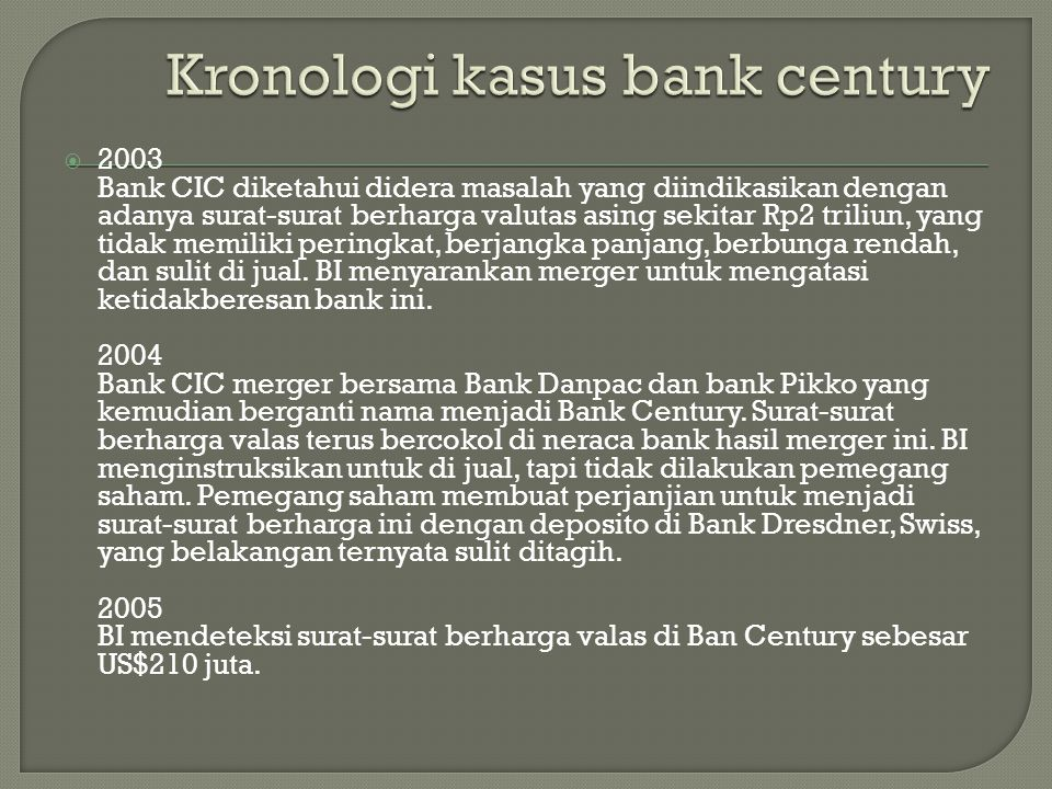  2003 Bank CIC diketahui didera masalah yang diindikasikan dengan adanya surat-surat berharga valutas asing sekitar Rp2 triliun, yang tidak memiliki peringkat, berjangka panjang, berbunga rendah, dan sulit di jual.