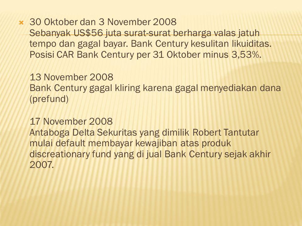  30 Oktober dan 3 November 2008 Sebanyak US$56 juta surat-surat berharga valas jatuh tempo dan gagal bayar.