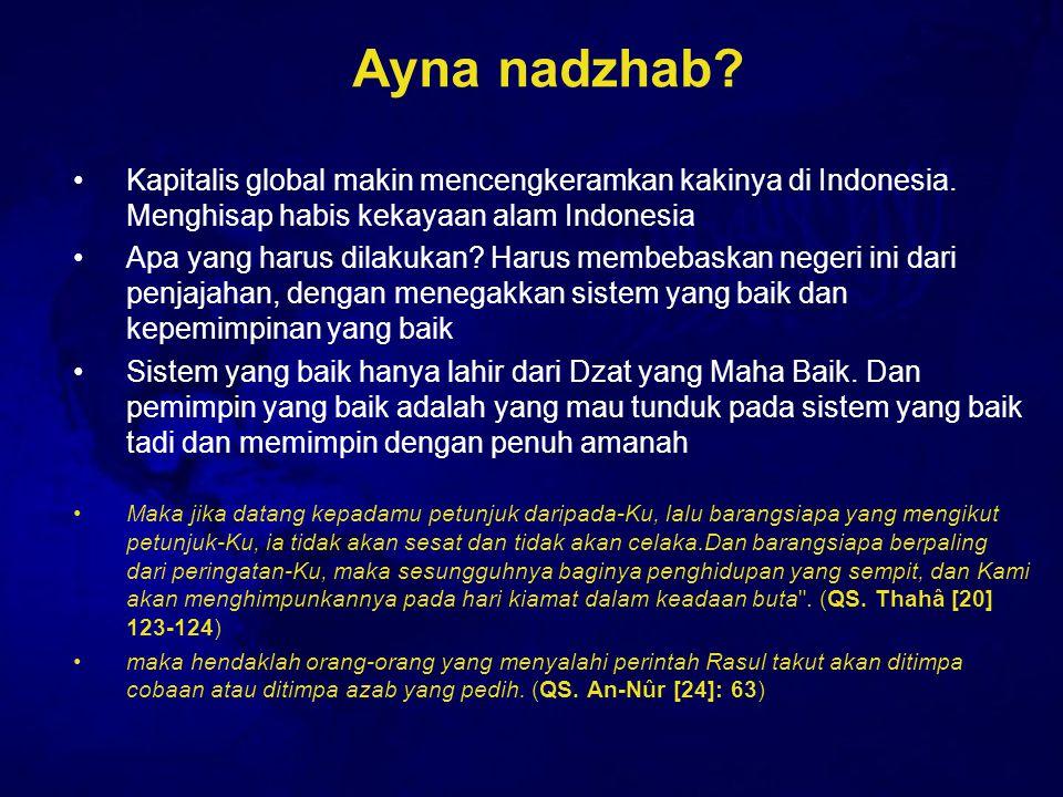 Ayna nadzhab? Kapitalis global makin mencengkeramkan kakinya di Indonesia. Menghisap habis kekayaan alam Indonesia Apa yang harus dilakukan? Harus mem