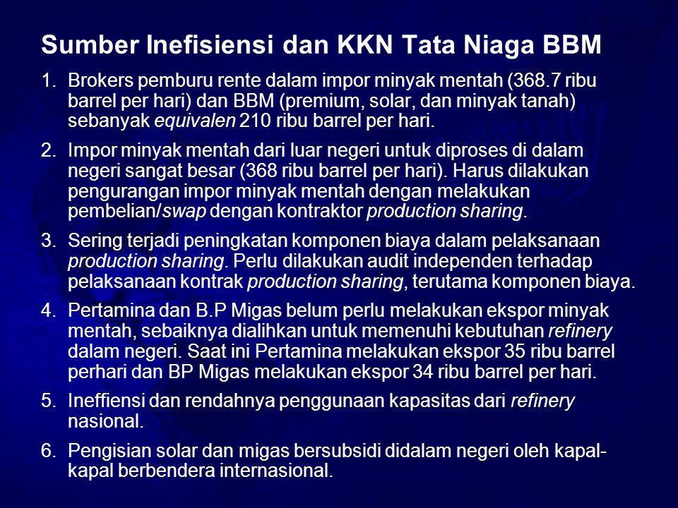 Sumber Inefisiensi dan KKN Tata Niaga BBM 1.Brokers pemburu rente dalam impor minyak mentah (368.7 ribu barrel per hari) dan BBM (premium, solar, dan