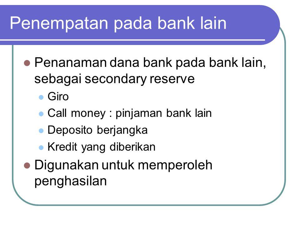 Penempatan pada bank lain Penanaman dana bank pada bank lain, sebagai secondary reserve Giro Call money : pinjaman bank lain Deposito berjangka Kredit