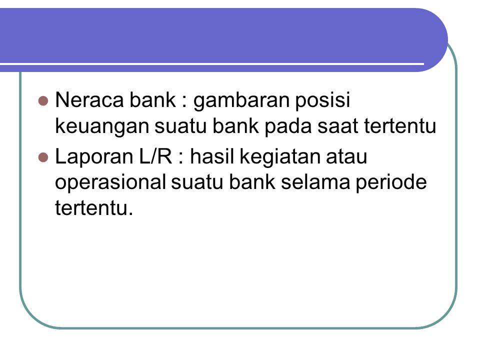 Neraca bank : gambaran posisi keuangan suatu bank pada saat tertentu Laporan L/R : hasil kegiatan atau operasional suatu bank selama periode tertentu.