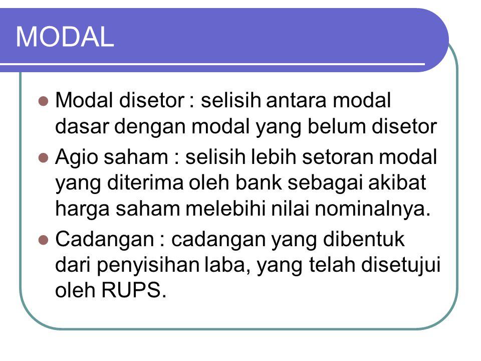MODAL Modal disetor : selisih antara modal dasar dengan modal yang belum disetor Agio saham : selisih lebih setoran modal yang diterima oleh bank seba