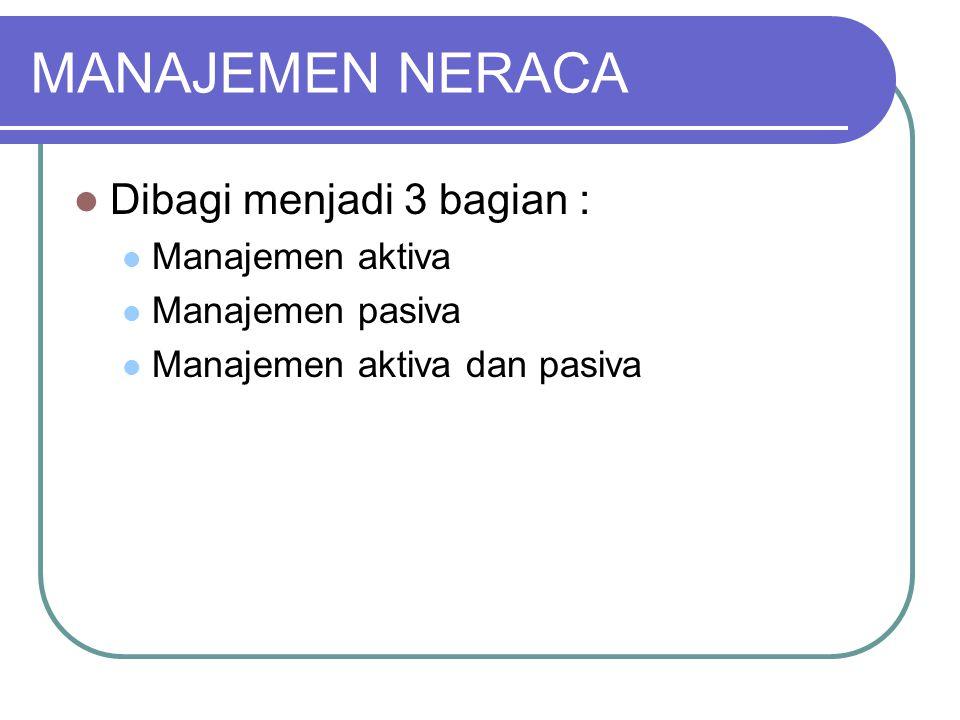 MANAJEMEN NERACA Dibagi menjadi 3 bagian : Manajemen aktiva Manajemen pasiva Manajemen aktiva dan pasiva