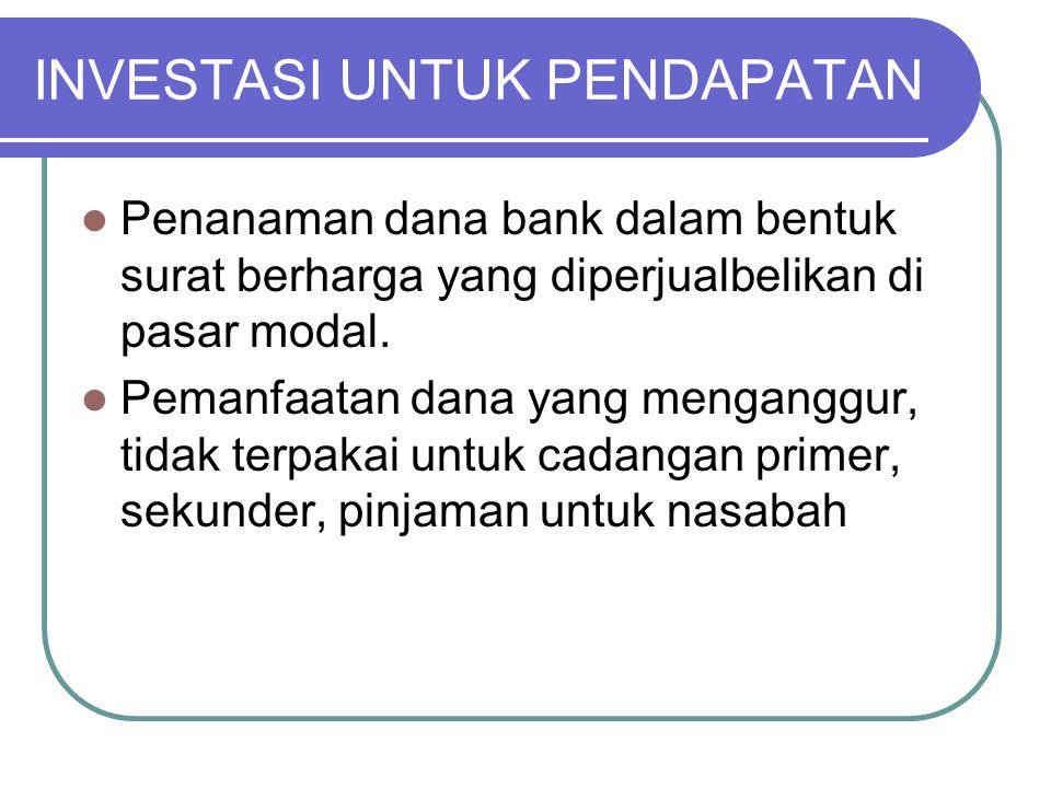 INVESTASI UNTUK PENDAPATAN Penanaman dana bank dalam bentuk surat berharga yang diperjualbelikan di pasar modal. Pemanfaatan dana yang menganggur, tid
