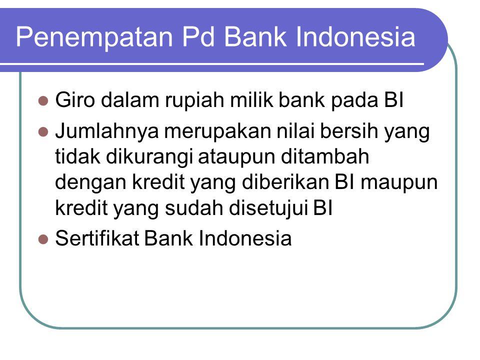 Penempatan Pd Bank Indonesia Giro dalam rupiah milik bank pada BI Jumlahnya merupakan nilai bersih yang tidak dikurangi ataupun ditambah dengan kredit