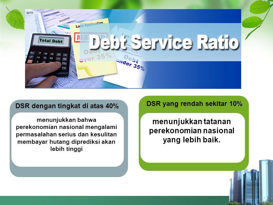 DSR dengan tingkat di atas 40% menunjukkan bahwa perekonomian nasional mengalami permasalahan serius dan kesulitan membayar hutang diprediksi akan lebih tinggi DSR yang rendah sekitar 10% menunjukkan tatanan perekonomian nasional yang lebih baik.