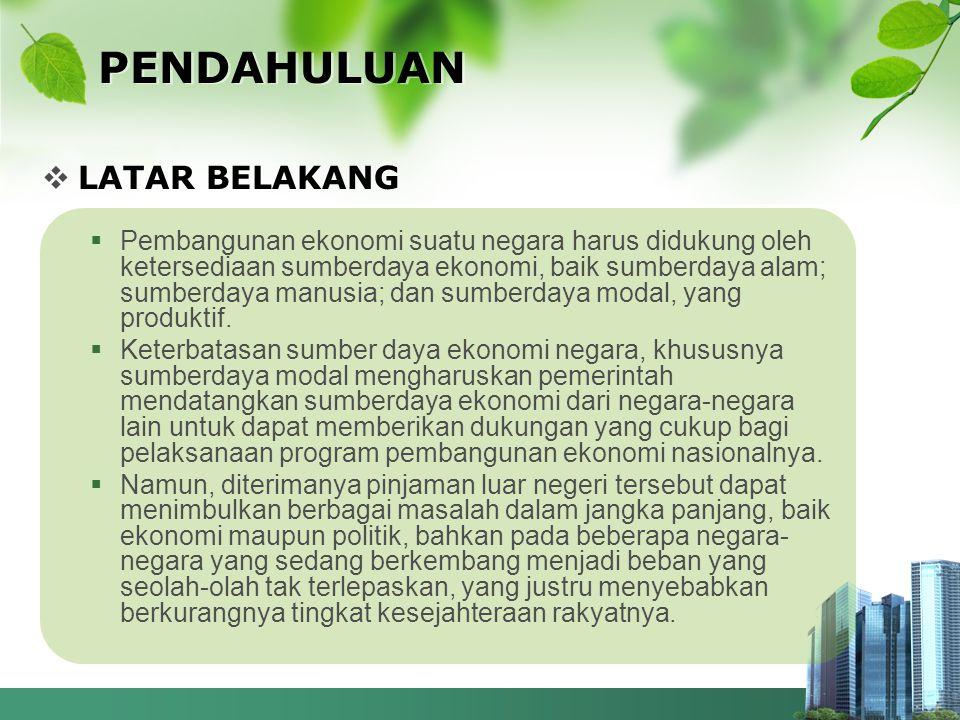  RUMUSAN MASALAH Bagaimanakah dampak pinjaman luar negeri yang dilakukan Indonesia terhadap pembangunan dan tatanan perekonomian Indonesia.
