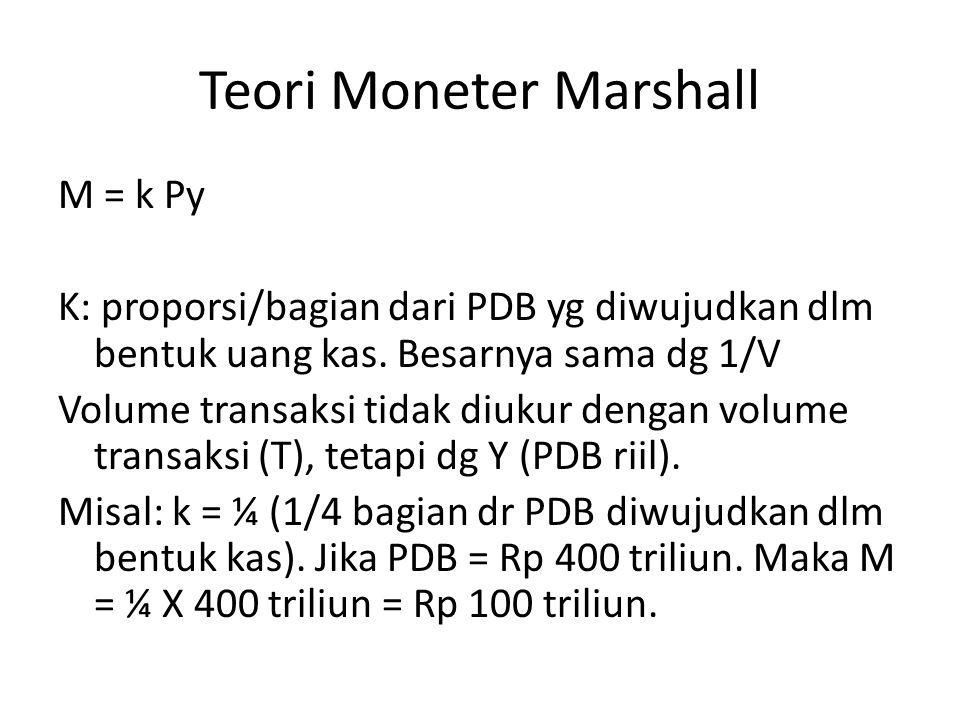 Teori Moneter Marshall M = k Py K: proporsi/bagian dari PDB yg diwujudkan dlm bentuk uang kas. Besarnya sama dg 1/V Volume transaksi tidak diukur deng
