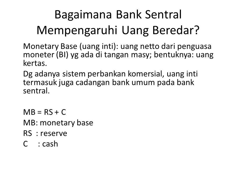 Bagaimana Bank Sentral Mempengaruhi Uang Beredar? Monetary Base (uang inti): uang netto dari penguasa moneter (BI) yg ada di tangan masy; bentuknya: u