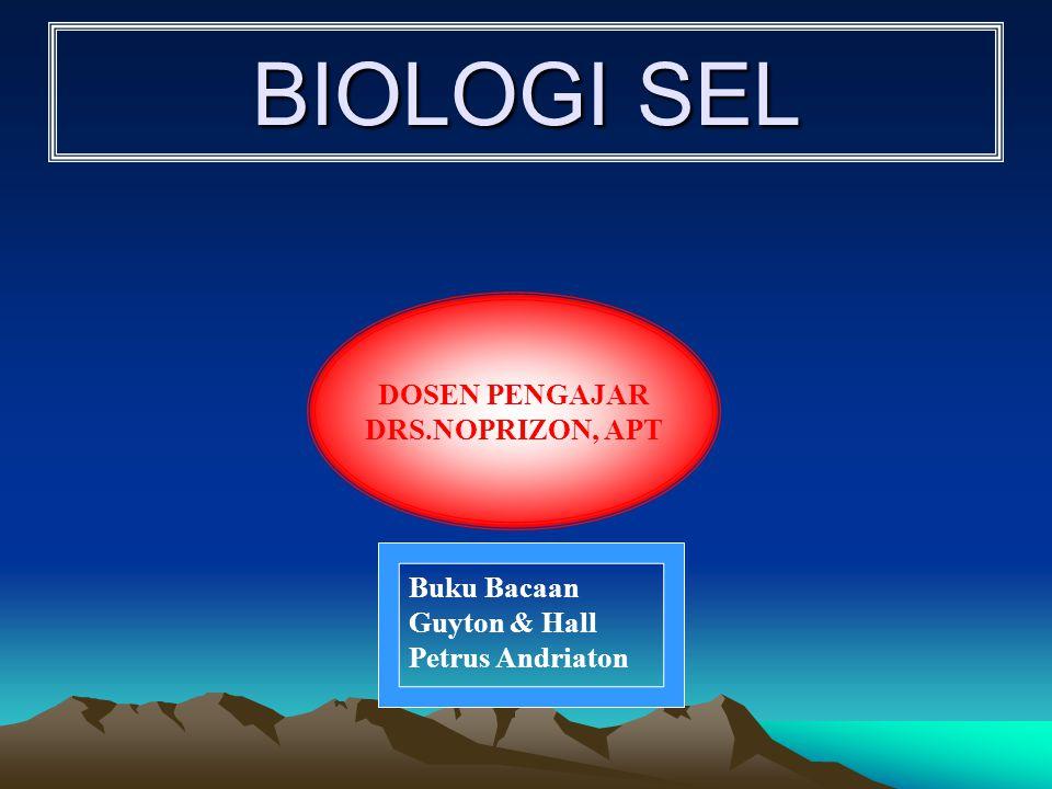 BIOLOGI SEL BIOLOGI SEL DOSEN PENGAJAR DRS.NOPRIZON, APT Buku Bacaan Guyton & Hall Petrus Andriaton