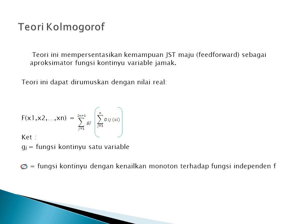 Teori ini mempersentasikan kemampuan JST maju (feedforward) sebagai aproksimator fungsi kontinyu variable jamak.