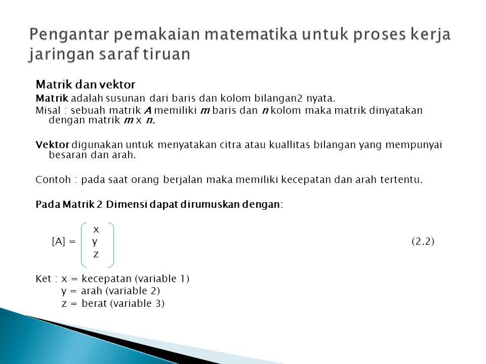 Matrik dan vektor Matrik adalah susunan dari baris dan kolom bilangan2 nyata.