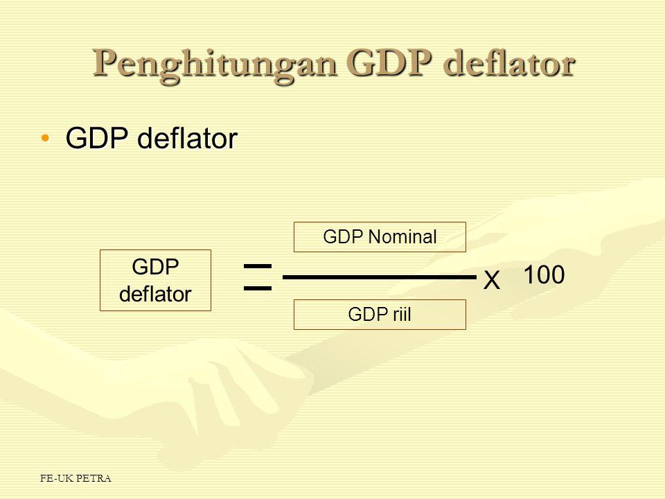 FE-UK PETRA Penghitungan GDP deflator GDP deflatorGDP deflator GDP deflator GDP Nominal GDP riil X 100