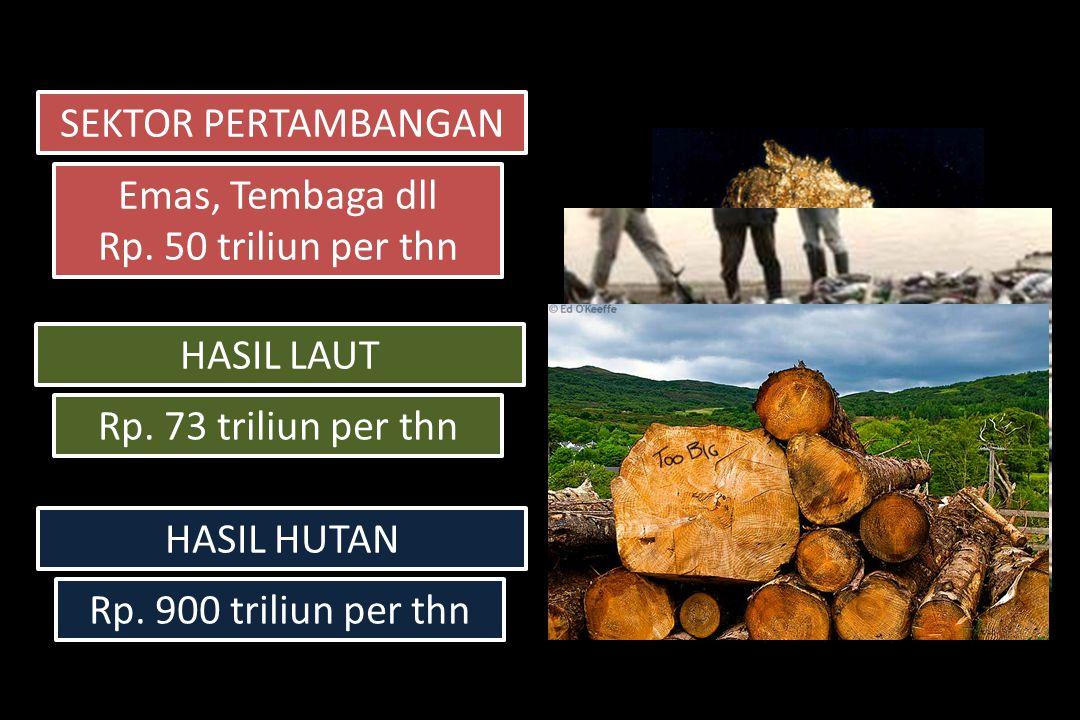 SEKTOR PERTAMBANGAN Emas, Tembaga dll Rp. 50 triliun per thn Emas, Tembaga dll Rp.