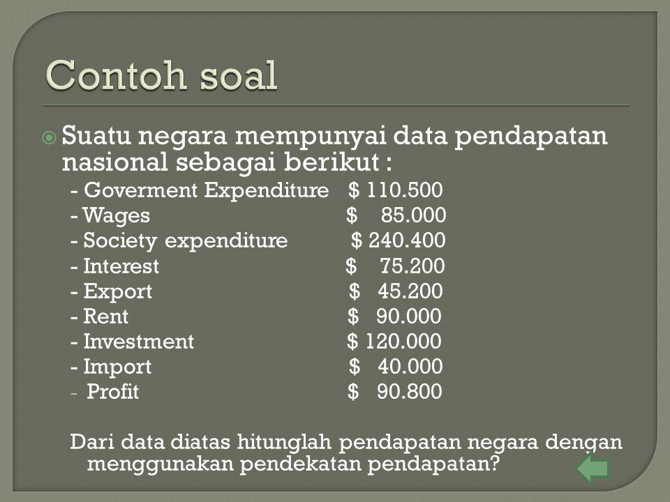  Suatu negara mempunyai data pendapatan nasional sebagai berikut : - Goverment Expenditure $ 110.500 - Wages $ 85.000 - Society expenditure $ 240.400