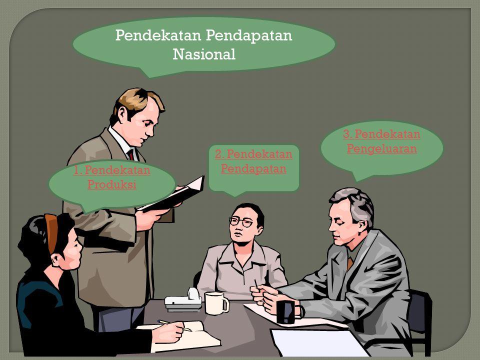 Pendekatan Pendapatan Nasional 1. Pendekatan Produksi 2. Pendekatan Pendapatan 3. Pendekatan Pengeluaran