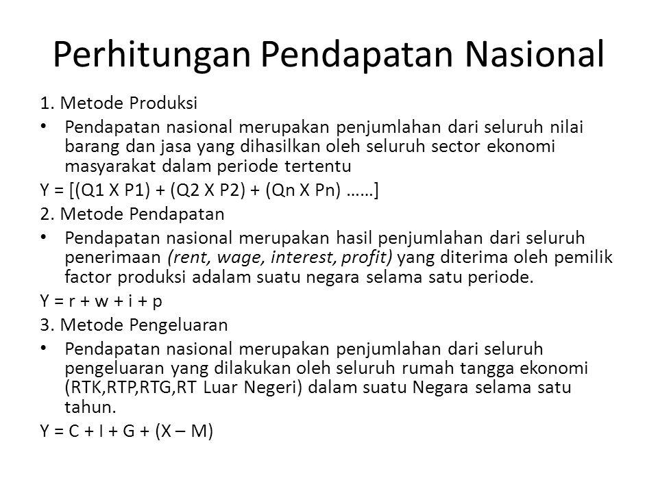 Perhitungan Pendapatan Nasional 1. Metode Produksi Pendapatan nasional merupakan penjumlahan dari seluruh nilai barang dan jasa yang dihasilkan oleh s