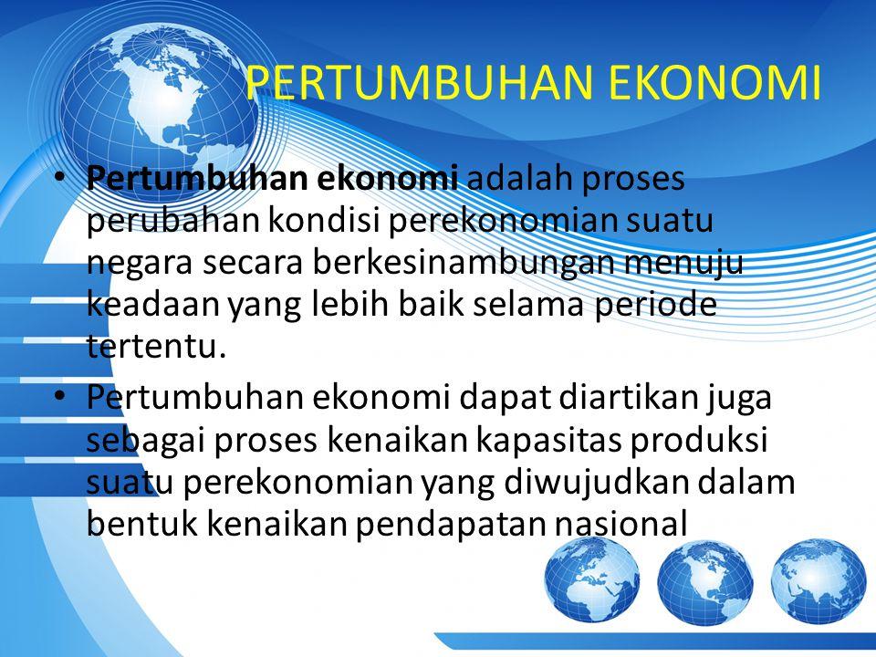 PERTUMBUHAN EKONOMI Pertumbuhan ekonomi adalah proses perubahan kondisi perekonomian suatu negara secara berkesinambungan menuju keadaan yang lebih ba