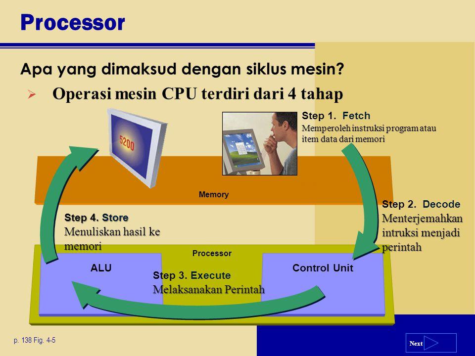 Next Processor Control Unit Memory ALU Processor Apa yang dimaksud dengan siklus mesin? p. 138 Fig. 4-5 Memperoleh instruksi program atau item data da