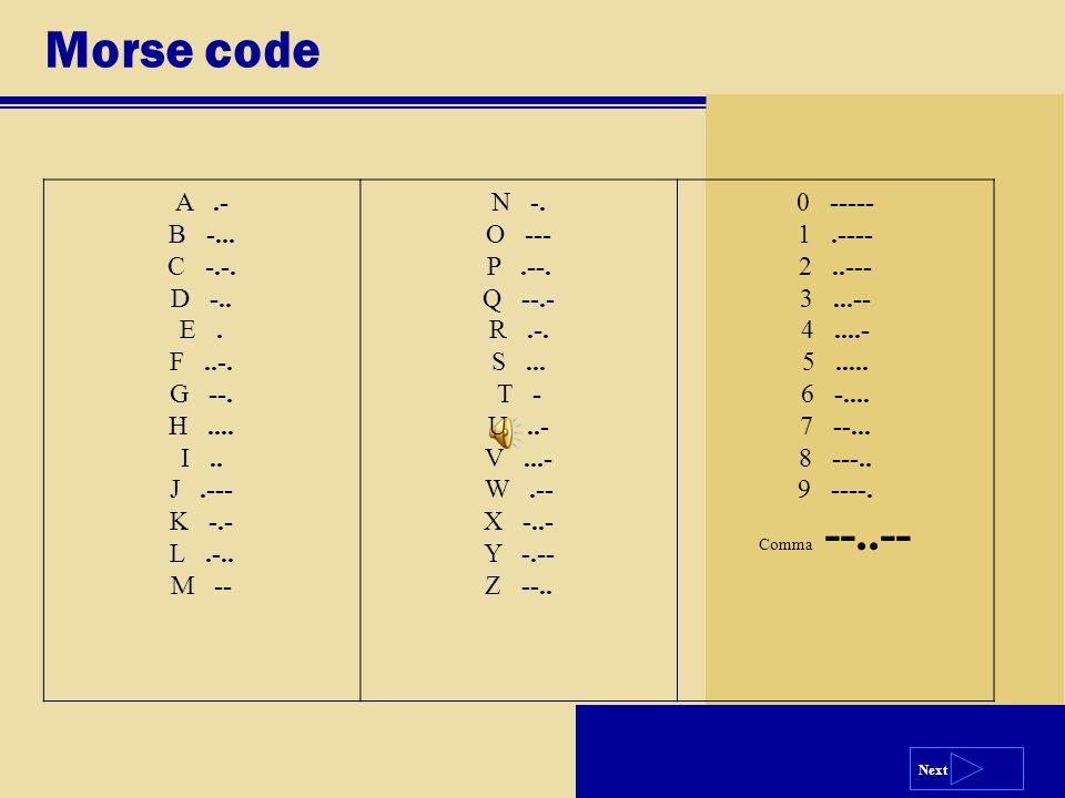 Next Morse code A.- B -... C -.-. D -.. E. F..-. G --. H.... I.. J.--- K -.- L.-.. M -- N -. O --- P.--. Q --.- R.-. S... T - U..- V...- W.-- X -..- Y