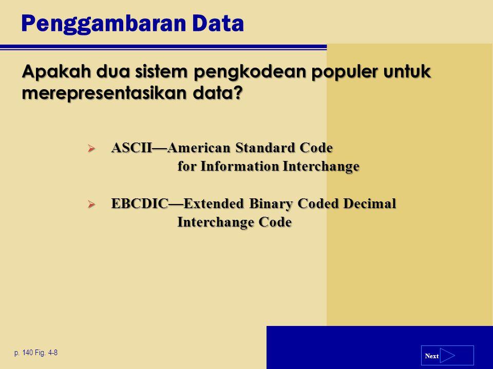 Next Penggambaran Data Apakah dua sistem pengkodean populer untuk merepresentasikan data? p. 140 Fig. 4-8  ASCII—American Standard Code for Informati