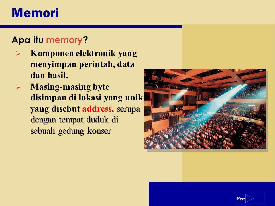 Next Memori Apa itu memory?  Komponen elektronik yang menyimpan perintah, data dan hasil. serupa dengan tempat duduk di sebuah gedung konser  Masing