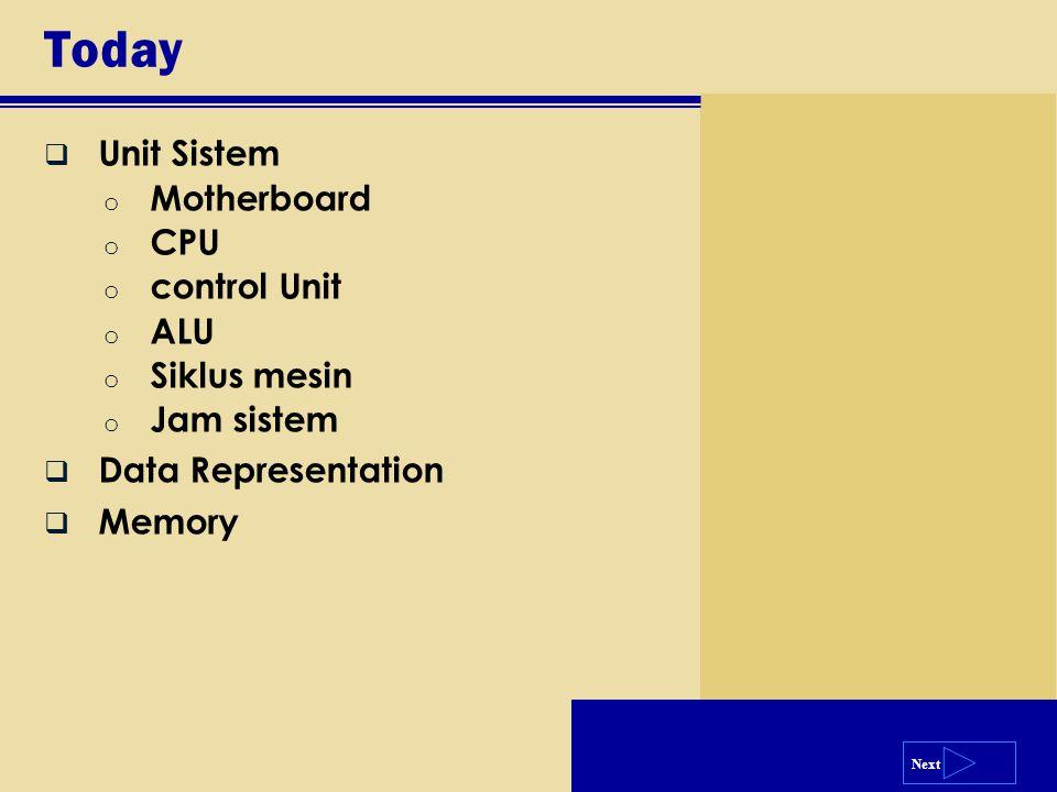 Next Today  Unit Sistem o Motherboard o CPU o control Unit o ALU o Siklus mesin o Jam sistem  Data Representation  Memory