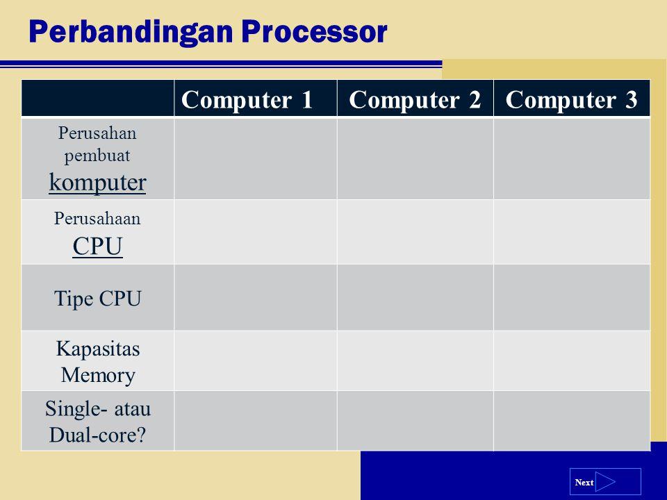 Next Perbandingan Processor Computer 1Computer 2Computer 3 Perusahan pembuat komputer Perusahaan CPU Tipe CPU Kapasitas Memory Single- atau Dual-core?