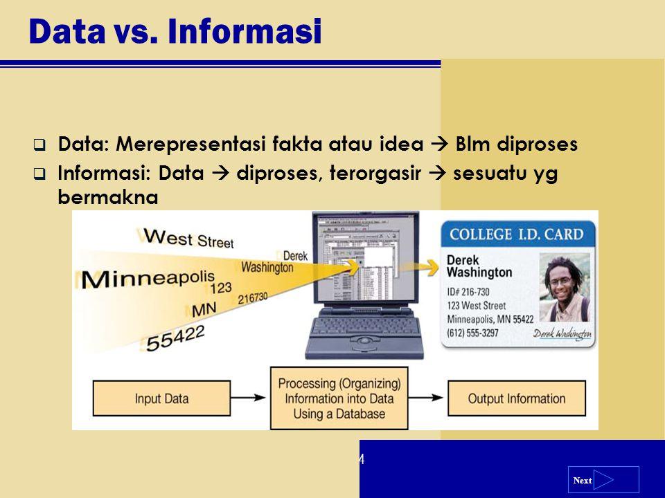 Next  Data: Merepresentasi fakta atau idea  Blm diproses  Informasi: Data  diproses, terorgasir  sesuatu yg bermakna Data vs. Informasi 4