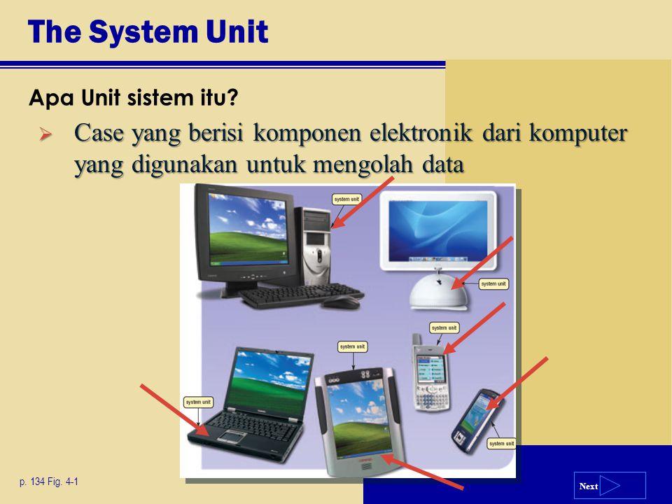 Next The System Unit Apa Unit sistem itu? p. 134 Fig. 4-1  Case yang berisi komponen elektronik dari komputer yang digunakan untuk mengolah data