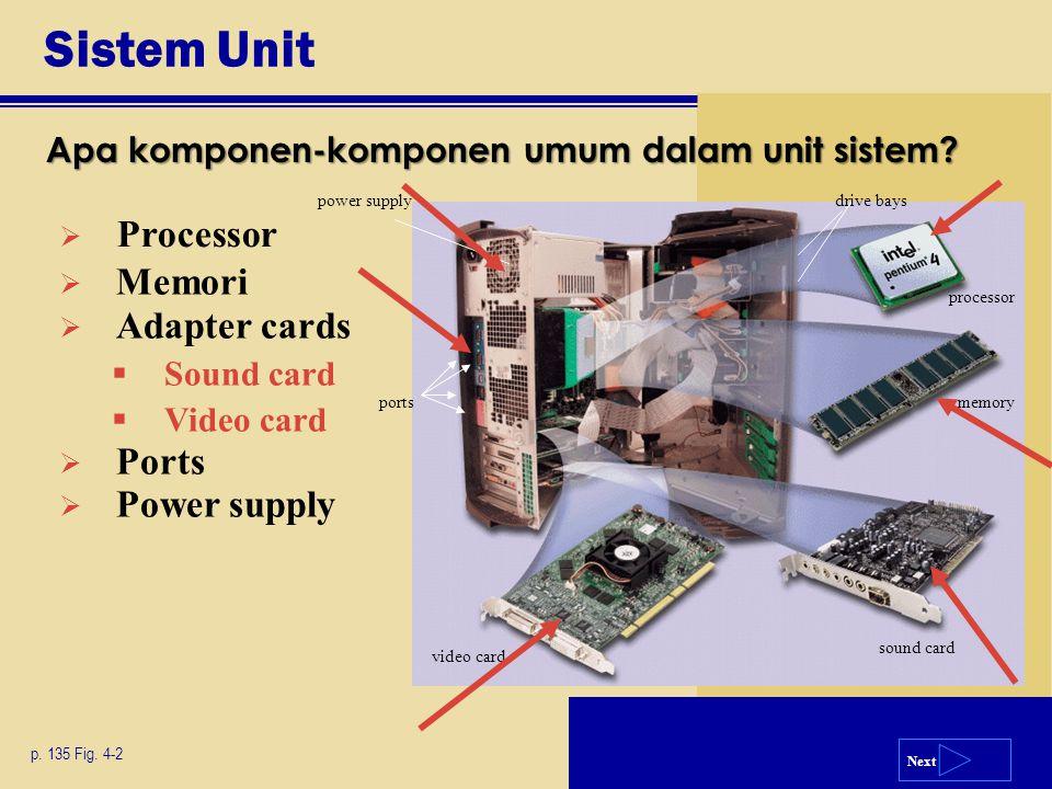 Next Sistem Unit Apa komponen-komponen umum dalam unit sistem? p. 135 Fig. 4-2  Memori  Adapter cards  Sound card  Video card  Ports  Power supp