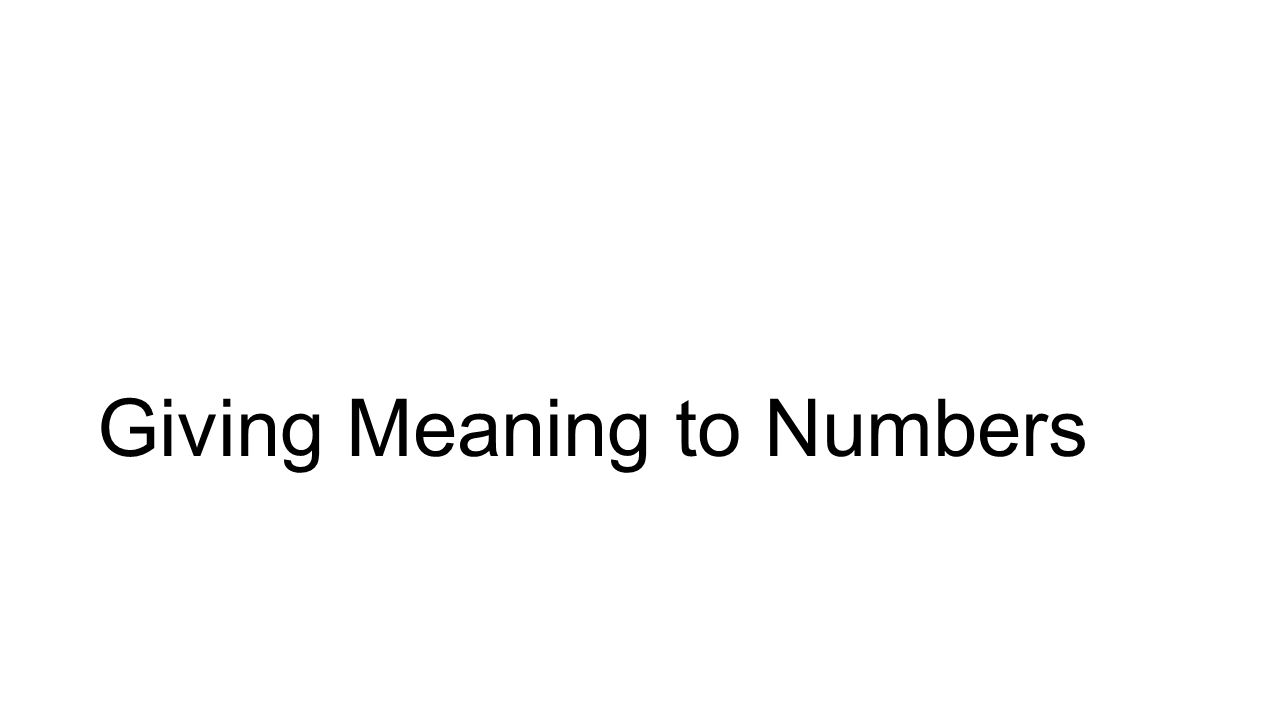 Giving Meaning to Numbers