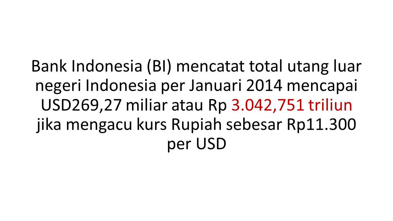 Bank Indonesia (BI) mencatat total utang luar negeri Indonesia per Januari 2014 mencapai USD269,27 miliar atau Rp 3.042,751 triliun jika mengacu kurs Rupiah sebesar Rp11.300 per USD