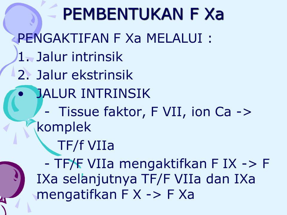 PEMBENTUKAN F Xa PENGAKTIFAN F Xa MELALUI : 1.Jalur intrinsik 2.Jalur ekstrinsik JALUR INTRINSIK - Tissue faktor, F VII, ion Ca -> komplek TF/f VIIa -