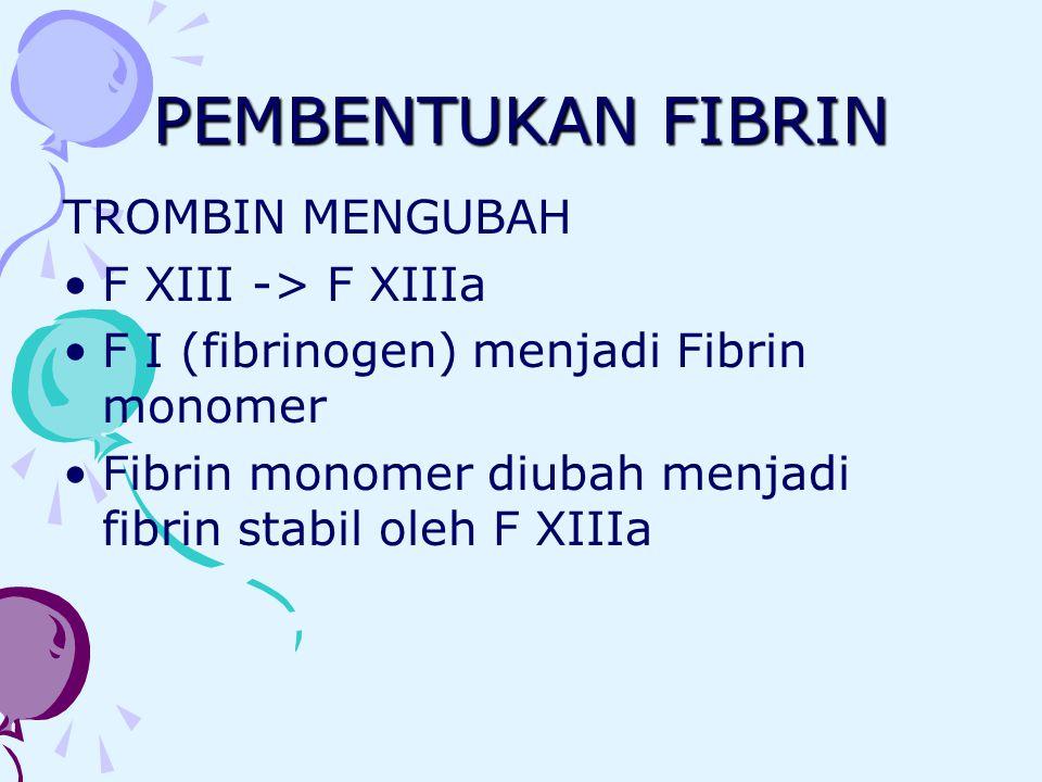 PEMBENTUKAN FIBRIN TROMBIN MENGUBAH F XIII -> F XIIIa F I (fibrinogen) menjadi Fibrin monomer Fibrin monomer diubah menjadi fibrin stabil oleh F XIIIa