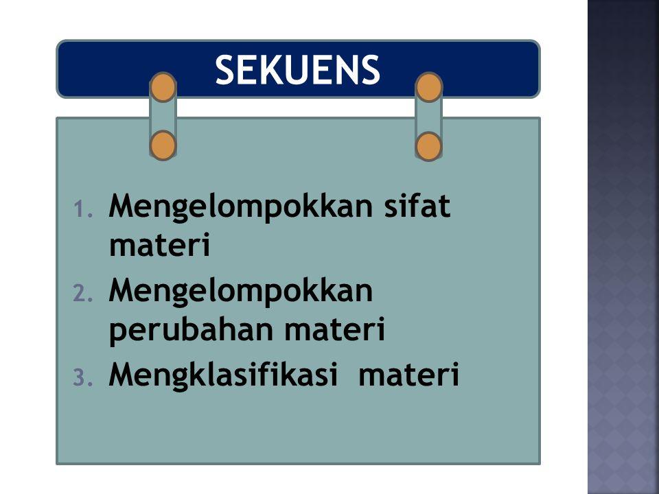 SEKUENS 1. Mengelompokkan sifat materi 2. Mengelompokkan perubahan materi 3. Mengklasifikasi materi
